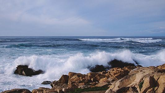 Oceaan, zee, golven, rotsen, kust, water, Splash