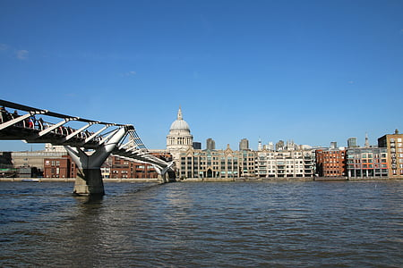 london, millennium, bridge, thames, city, england, cathedral