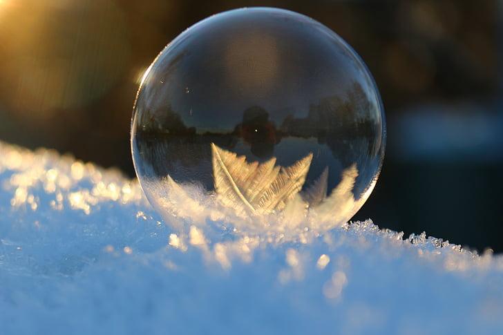 bombolla de sabó, cristalls, l'hivern, neu, fred, eiskristalle, gelades