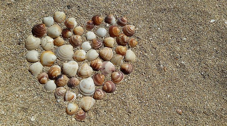 пляж, серце, Кохання, пісок, морські мушлі, берег моря, берег