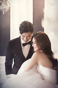 vestits de núvia, moda, caràcter, el nuvi, núvia, somriure, un parell de