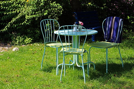 garden, seating furniture, seating arrangement, chairs, table, outside catering, gastronomy