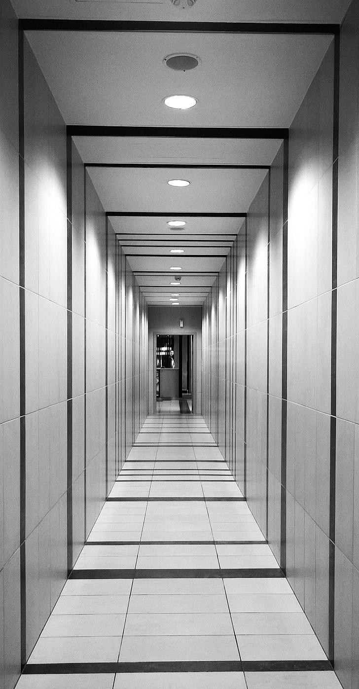 hal, perspectief, tunnel, het platform, corridor, interieur, vloer