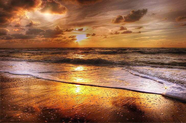 pôr do sol, praia, mar, sol, abendstimmung, nuvens, arrebol