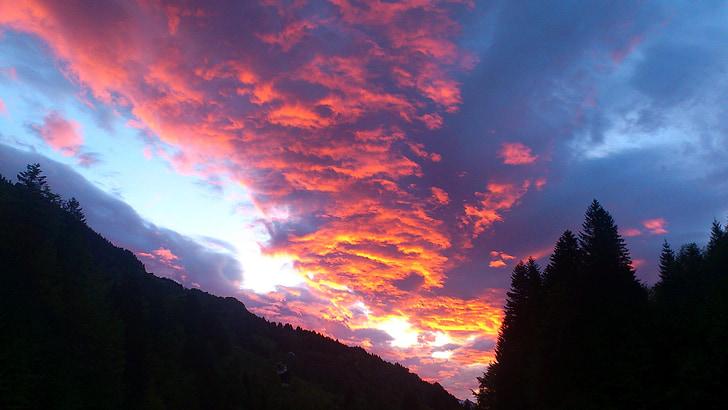 nuvens, arrebol, nuvens se formam, nuvem