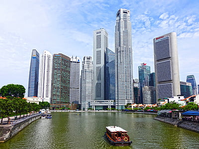 singapore, singapore river, skyline, building, water, financial district, skyscraper