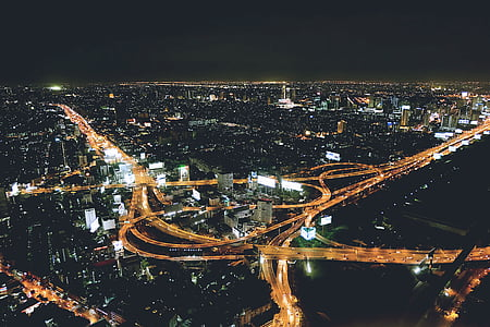 areal, photo, buildings, nighttime, high, way, City
