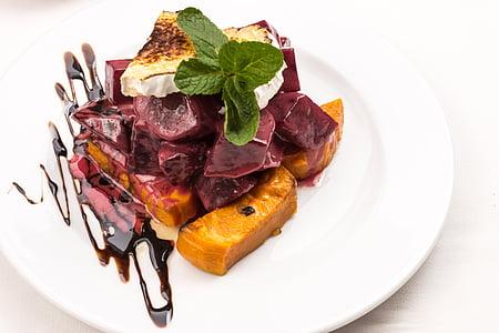 Σαλάτα γκουρμέ, Σαλάτα κολοκύθας, τυρί, ψημένο τυρί, γεύμα, τροφίμων, γκουρμέ