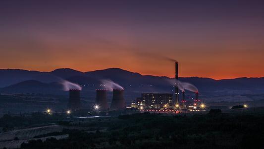 Alba, capvespre, fàbrica, indústria, contaminació, cel, fum