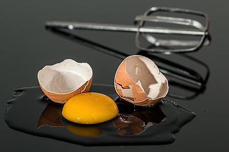 trencat, cuina, cruixit, esquerdat, ou, eggshell, aliments