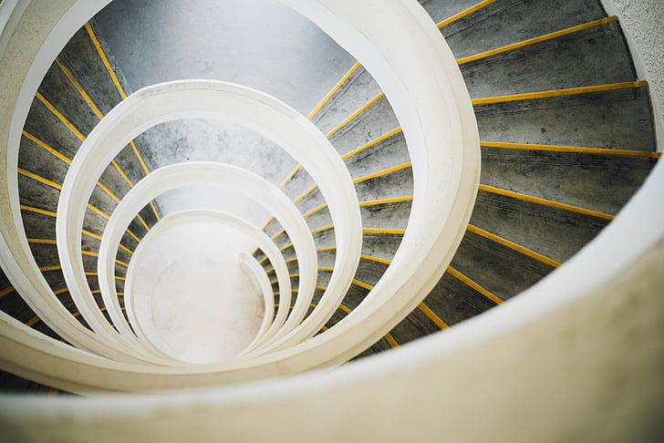 spiral, trapp, fotografi, arkitektur, bygge, trapper, trinn og trapper