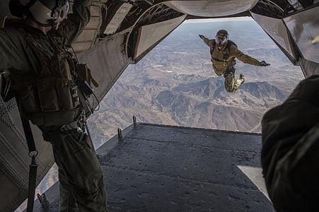 skydiving, jump, falling, parachuting, military, training, high
