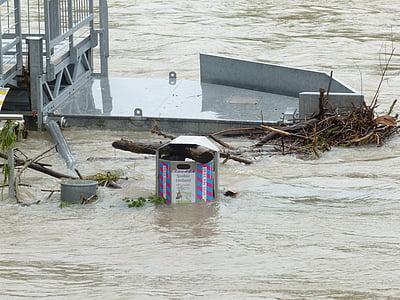marée haute, poubelle, Banque, Danube, rive du danube, inondées, en cas de catastrophe naturelle