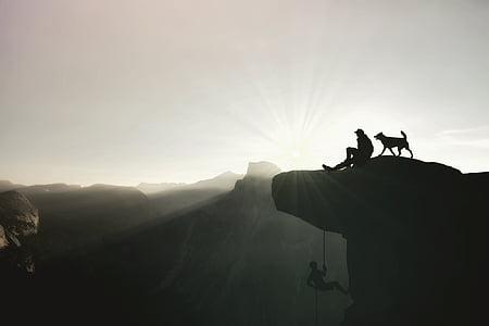 mountaineer, climb, mountaineering, climber, rope, climbing rope, mountains