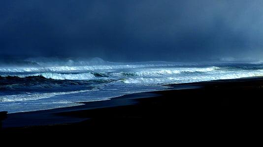 ocean, storm, blue, sea, water, pacific, scenics