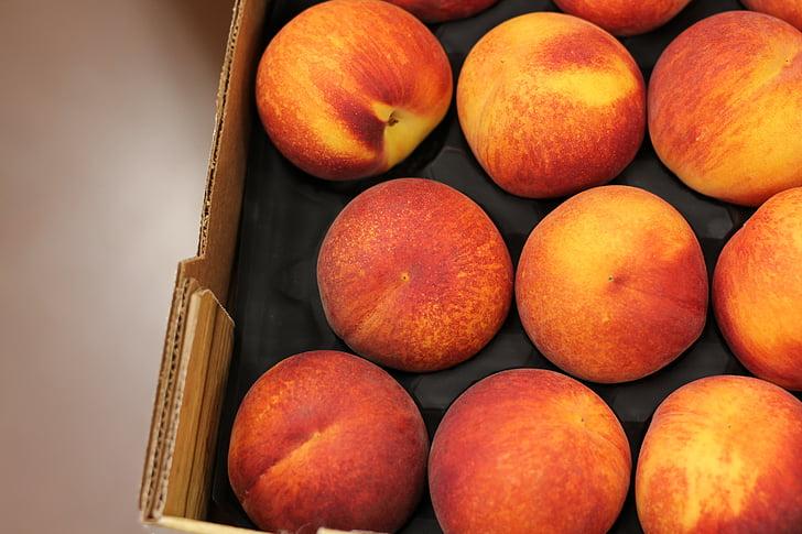 persikų, šviežios, vaisių, maisto, šviežumo, organinių, prinokusių