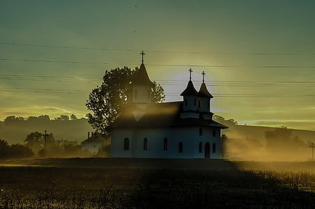 church, landscape, sunrise, sky, architecture, building, summer