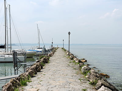 Llac, Garda, embarcador, Porto, l'aigua, Llac de garda, PACENGO