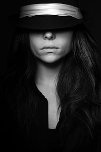 model, hat, exposure, photography, beautiful, young, black and white