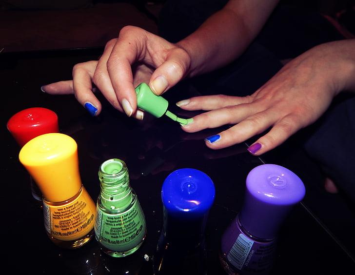 esmalt d'ungles, ungles, color, mà humana