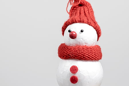 snow man, winter, cap, cold, mood, postcard, greeting card