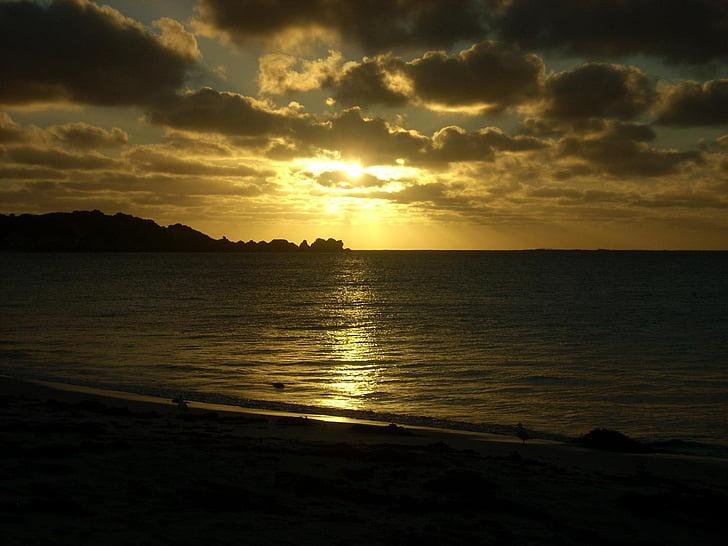 posta de sol, platja, tranquil·la, oceà, posta de sol de platja, vacances