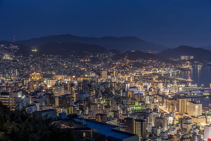 Nagasaki, noćni pogled, Pogledaj prijatelje člana Japan je tri velika noć, noć, Gradski pejzaž, svjetlo, zaljev Nagasaki