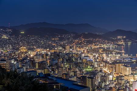 nagasaki, night view, japan's three major night view, night, cityscape, light, nagasaki bay