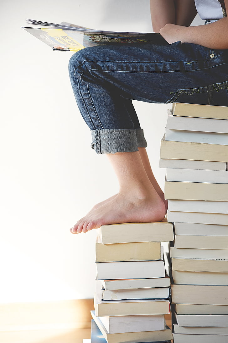 llibres, peus, cames, persona, lectura