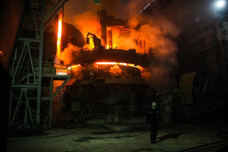 indústria, acer, ferro, forn, foc, líquid, treballadors