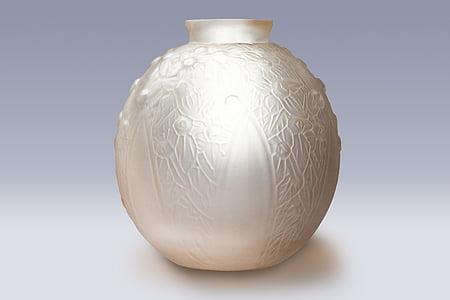 Vase, Glas, Art-Deco-, Arts décoratifs, gepresstes Glas, Glas-vase, dekorative