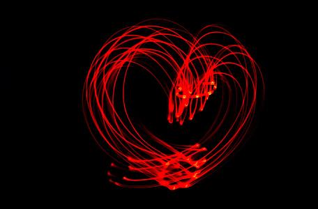 hjerte, ledet, lys, rød, LED-lys, lyspunkter, lys rør