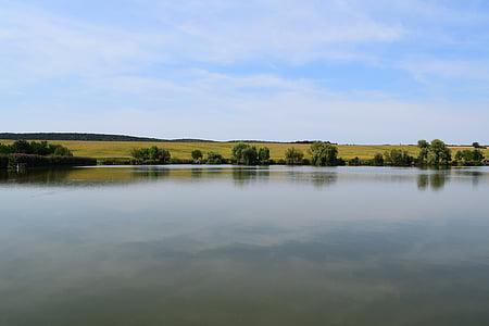Λίμνη, νερό, μπλε, φύση, δίπλα στη λίμνη, προκυμαία, ουρανός