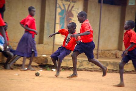 sepak bola, olahraga, merah, Bermain, bola, kaki, kaki