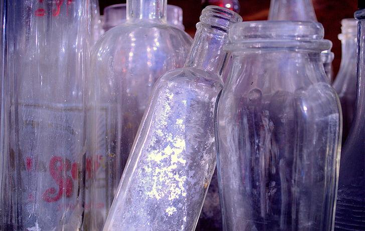 ampolles, contenidor, vidre, beguda, flascó, col·lecció, transparents