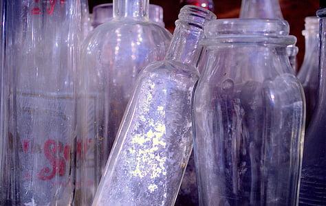 Flaschen, Container, Glas, trinken, Glas, Kollektion, transparente
