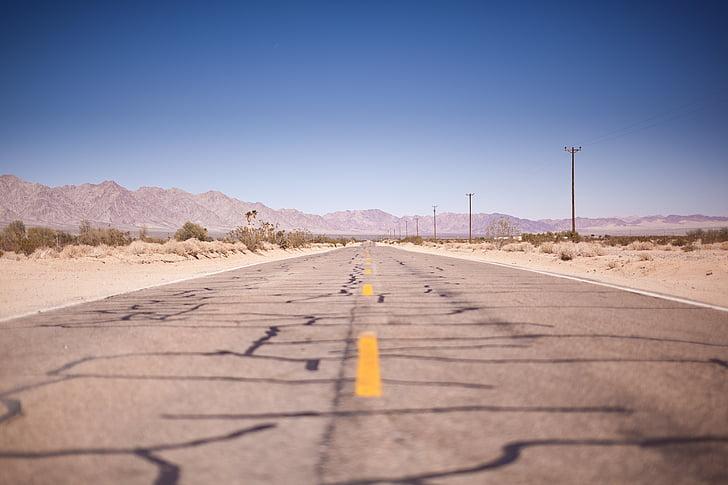 asfalt, pust, pustinja, suha, autocesta, perspektive, ceste