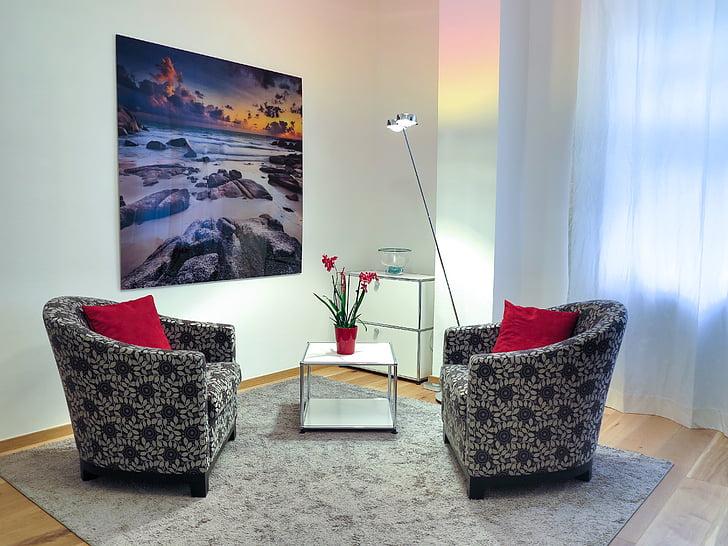 Psicologia, psicoteràpia, sala de teràpia, xerrada, sala, espai, disseny d'interiors