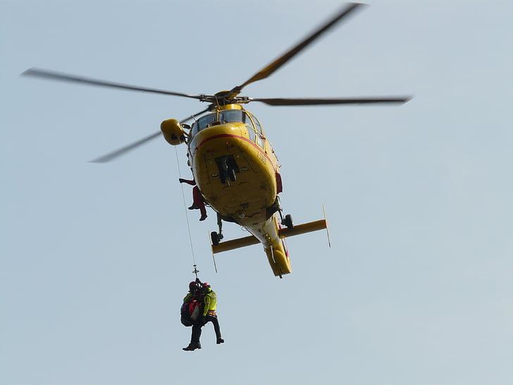 helicòpter, rescat, primers auxilis, rescat de muntanya, volar, rotor, ràpel