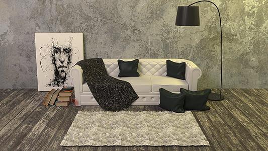 llibres, catifa, sofà, brut, pis, pelatge, vidre