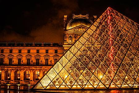architecture, bâtiment, France, verre, point de repère, lumières, Musée du Louvre