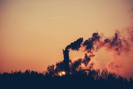 silhouette, smoke, factory, dawn, surnrise, shadows, chimney