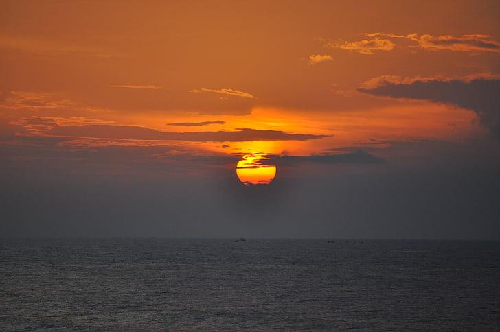Alba, cielo, spiaggia, Vietnam, sole