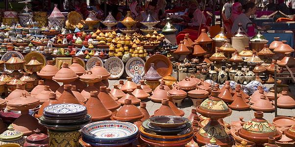 mercat, Marroc, Soc, Meknès, ceràmica, Tajine, basar