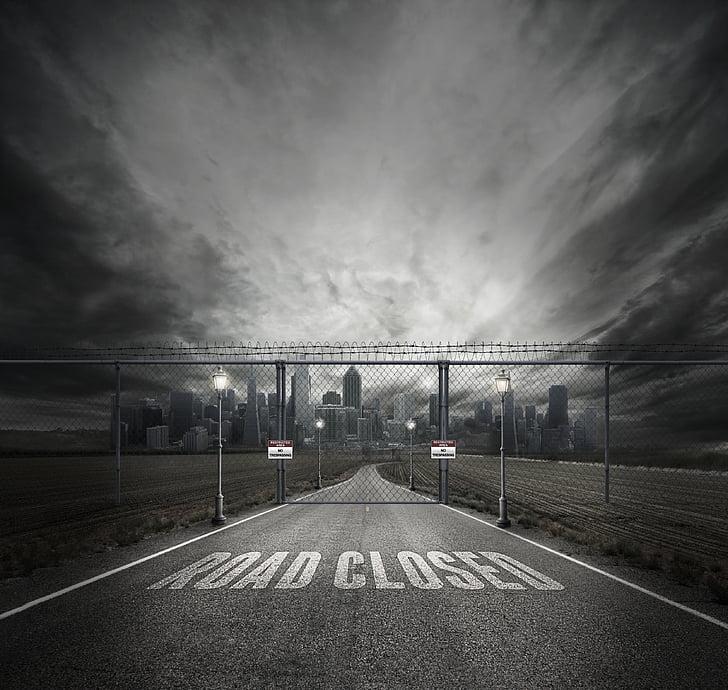 ciutat, carretera, pues, fosc, carrer, carrer de la ciutat, edifici