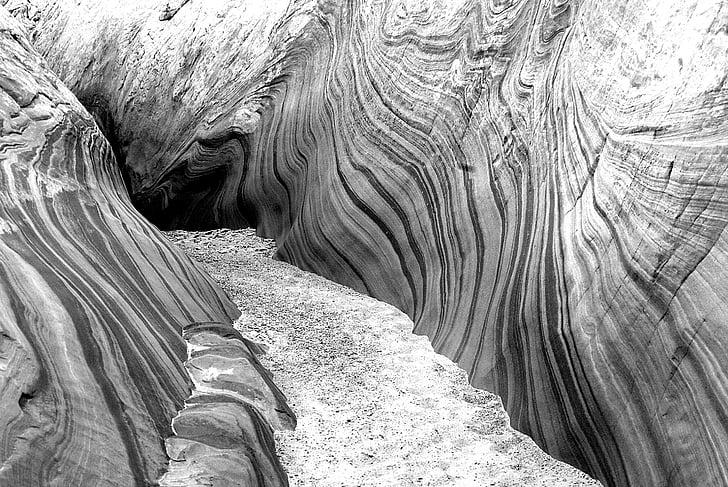 svartvit, Cave, öken, naturen, Utomhus, Rock, sandsten