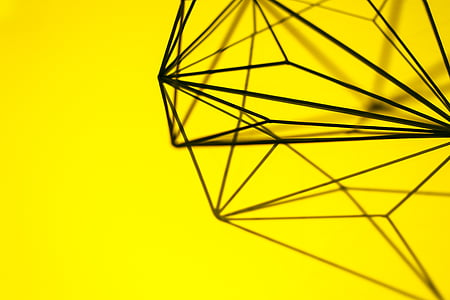 black, steel, geometric, figure, yellow, background, art