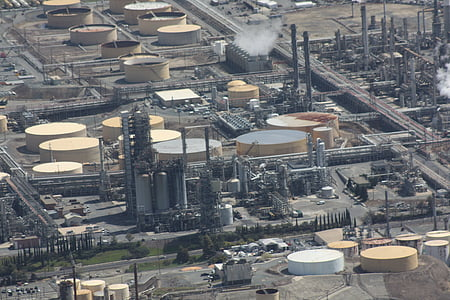 refinery, oil, aerial, natural gas, gasoline, aerial view