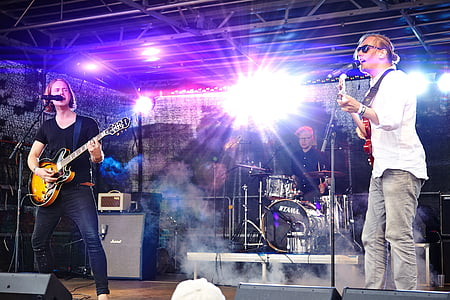 band, musicians, music, live, gig, bright light, stage - Performance Space