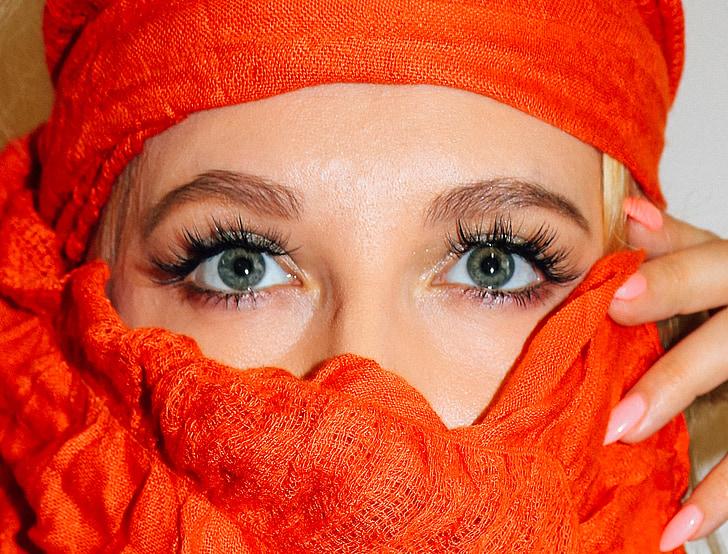 Lady, unga, kvinna, närbild, ögon, långa fransar, ögonfransar
